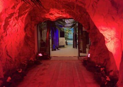 Soirée de gala entreprise sur le thème Polynésie, décors intérieurs